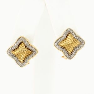 David Yurman 18K Pavé Quatrefoil Earrings